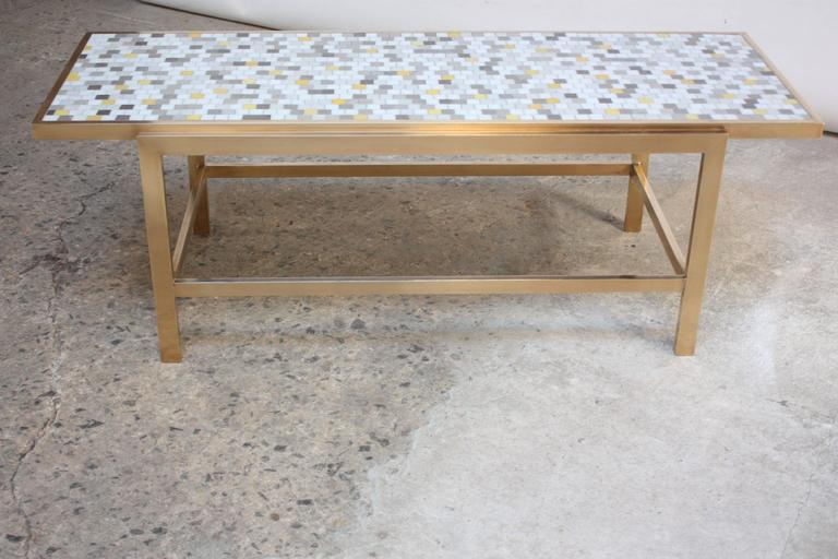 Brass and Mosaic Coffee Table Attributed to Ed Wormley for Dunbar 5