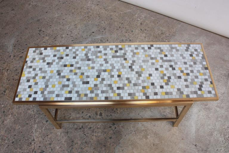 Brass and Mosaic Coffee Table Attributed to Ed Wormley for Dunbar 4