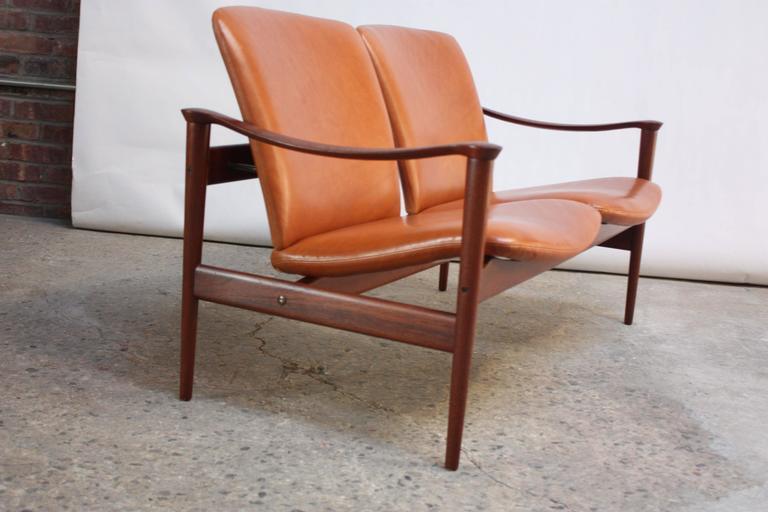Norwegian Fredrik Kayser Loveseat in Leather and Teak For Sale