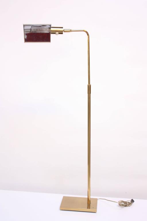 Mid Century Modern Koch And Lowy Brass Pharmacy Floor Lamp For Sale