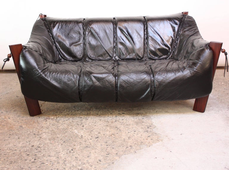 Brazilian Percival Lafer MP-211 Jacaranda and Leather Two-Seat Sofa with Ottoman For Sale