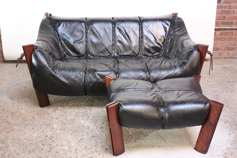 Late 20th Century Percival Lafer MP-211 Jacaranda and Leather Two-Seat Sofa with Ottoman For Sale