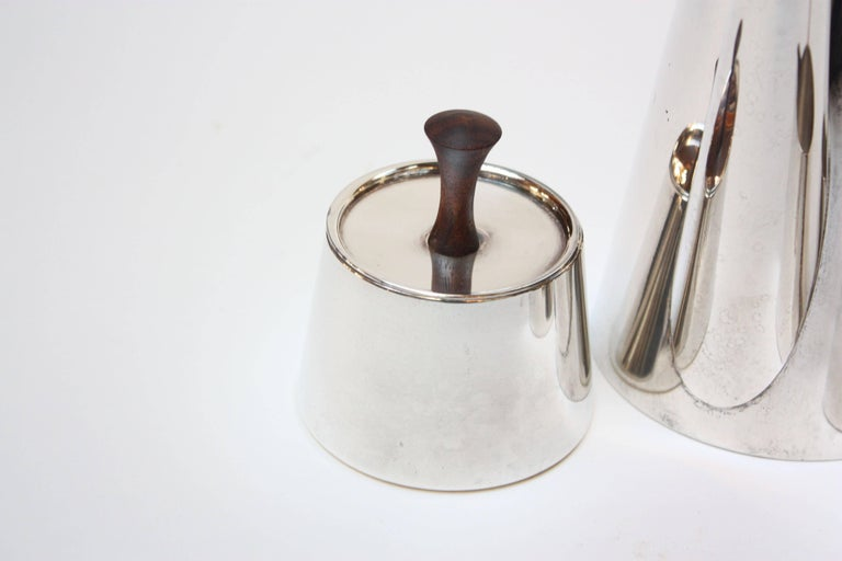 Midcentury Italian Modern Silver Plate and Rosewood Coffee or Tea Set In Excellent Condition For Sale In Brooklyn, NY