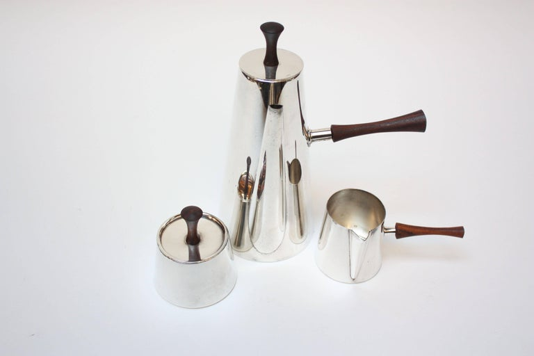 Mid-20th Century Midcentury Italian Modern Silver Plate and Rosewood Coffee or Tea Set For Sale