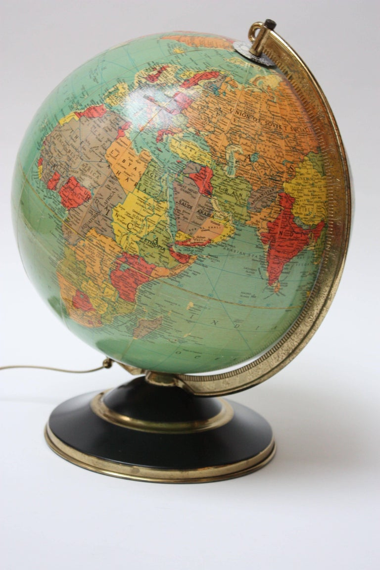 1960s Replogle Glass Illuminated Library Globe For Sale At