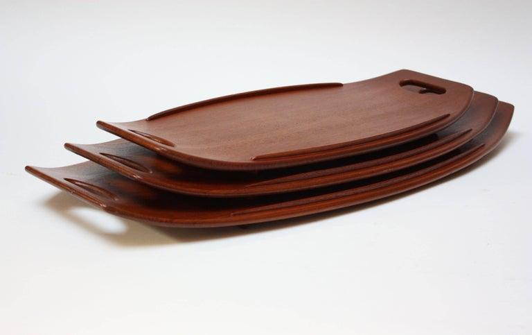 Mid-Century Modern Nest of Three Staved Teak Serving Trays by Jens Quistgaard for Dansk For Sale