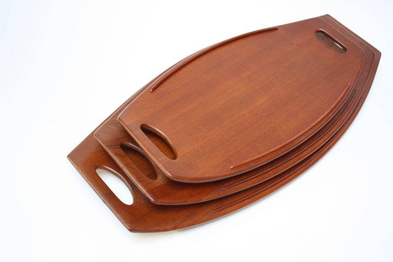 Danish Nest of Three Staved Teak Serving Trays by Jens Quistgaard for Dansk For Sale