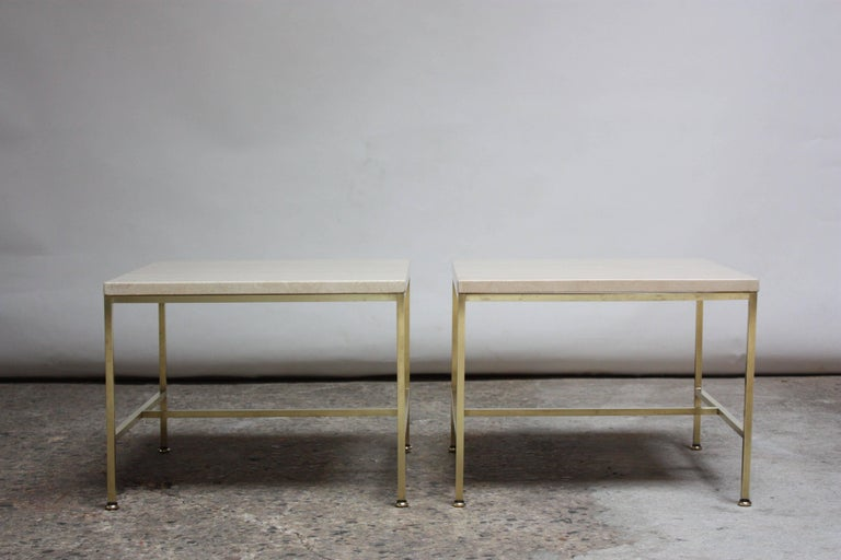 Mid-20th Century Paul McCobb Travertine and Brass Occasional Tables For Sale