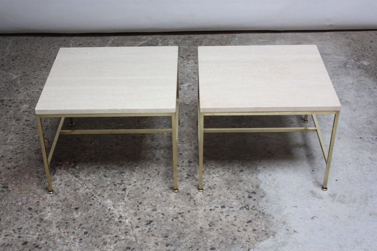 Paul McCobb Travertine and Brass Occasional Tables For Sale 1