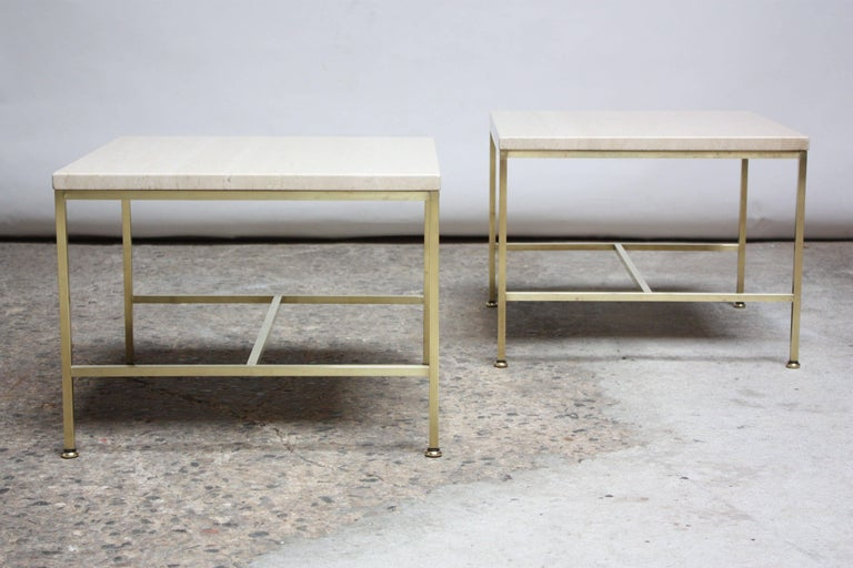 Mid-Century Modern Paul McCobb Travertine and Brass Occasional Tables For Sale