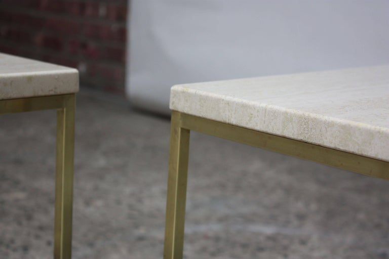 Paul McCobb Travertine and Brass Occasional Tables For Sale 6