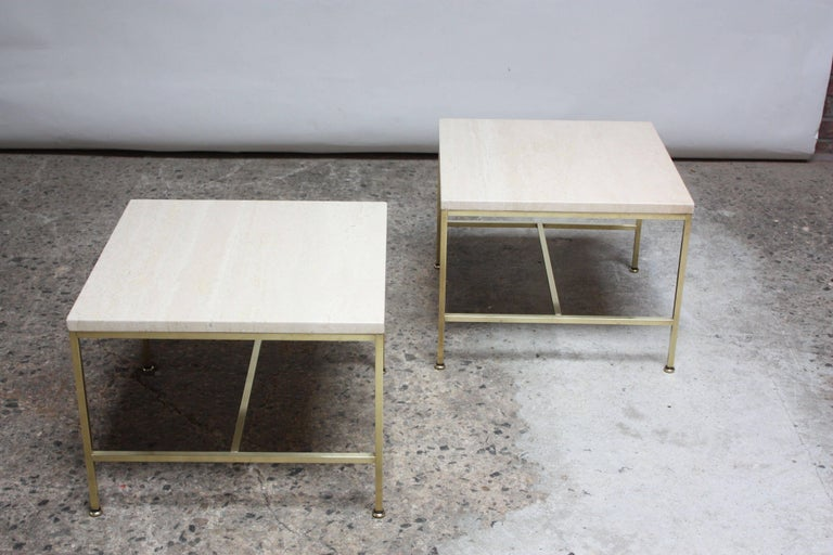 American Paul McCobb Travertine and Brass Occasional Tables For Sale