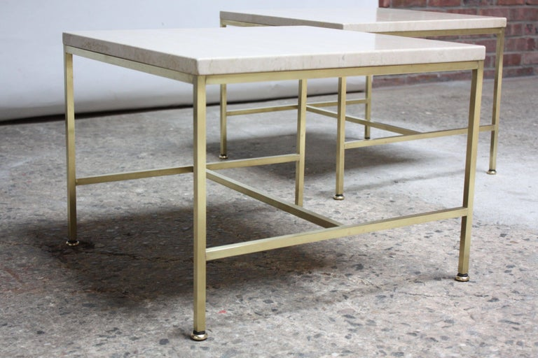 Paul McCobb Travertine and Brass Occasional Tables For Sale 3