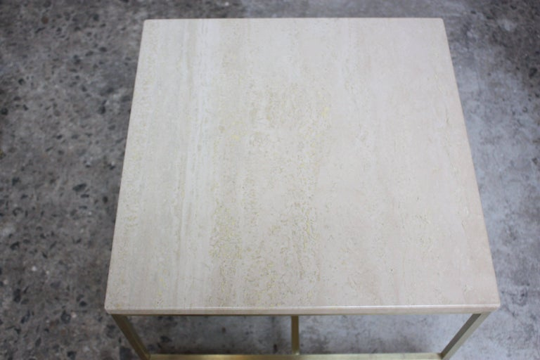 Paul McCobb Travertine and Brass Occasional Tables For Sale 4