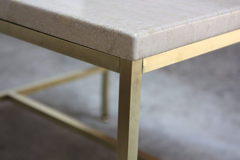 Paul McCobb Travertine and Brass Occasional Tables For Sale 8