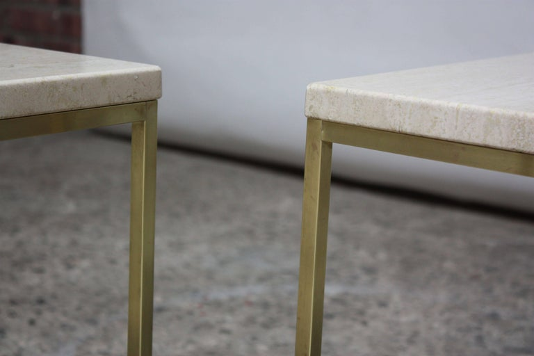 Paul McCobb Travertine and Brass Occasional Tables For Sale 9