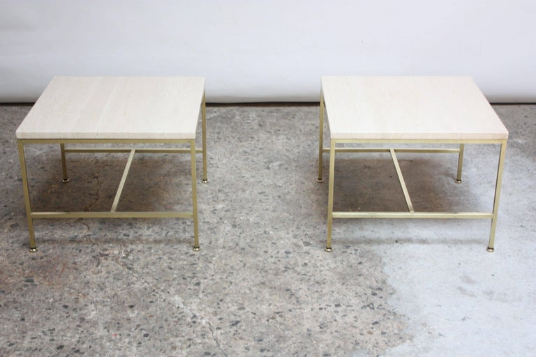 Paul McCobb Travertine and Brass Occasional Tables For Sale 2