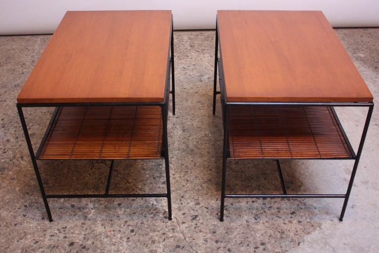 American Pair of Paul McCobb 'Planner Group' Iron and Maple Occasional Tables For Sale