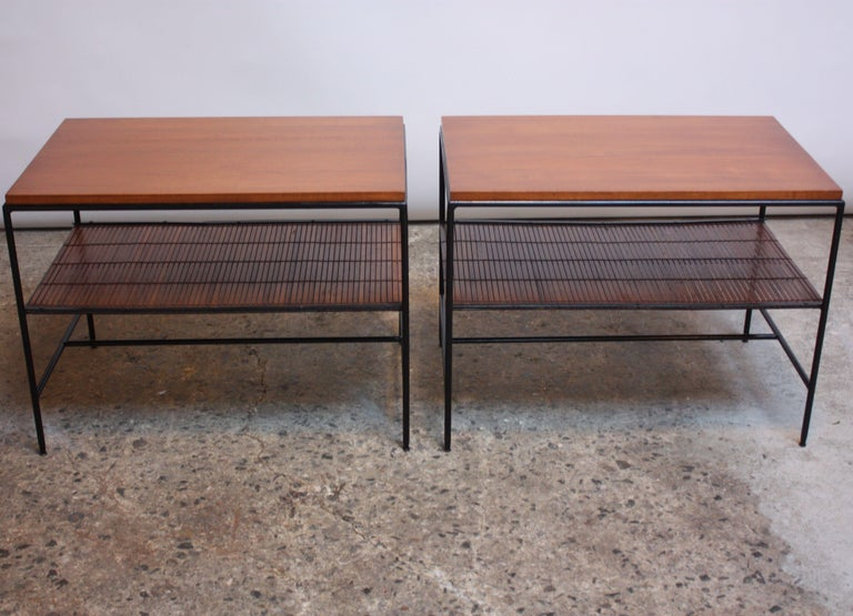 Painted Pair of Paul McCobb 'Planner Group' Iron and Maple Occasional Tables For Sale