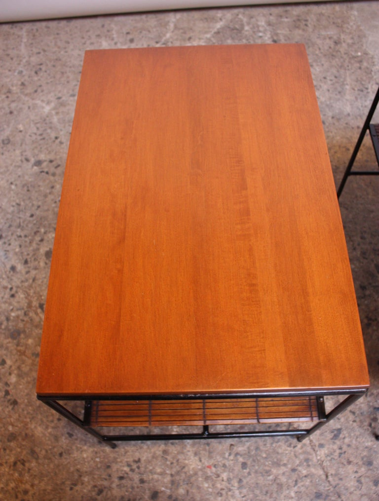 Pair of Paul McCobb 'Planner Group' Iron and Maple Occasional Tables For Sale 2