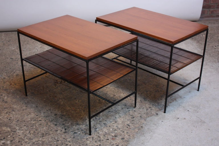Mid-Century Modern Pair of Paul McCobb 'Planner Group' Iron and Maple Occasional Tables For Sale