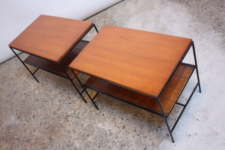 Bamboo Pair of Paul McCobb 'Planner Group' Iron and Maple Occasional Tables For Sale