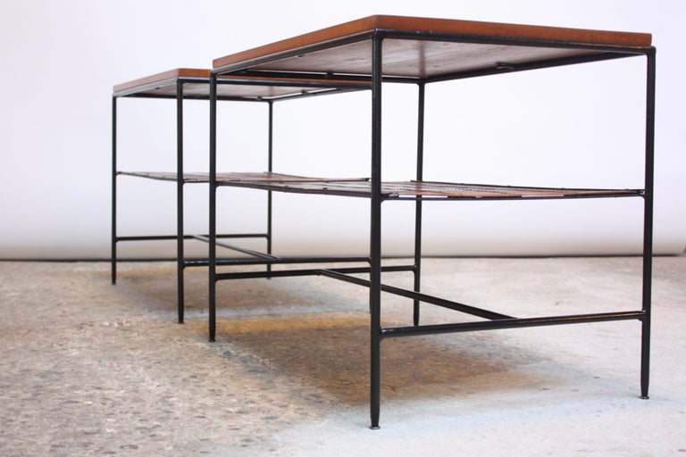 Pair of Paul McCobb 'Planner Group' Iron and Maple Occasional Tables In Good Condition For Sale In Brooklyn, NY
