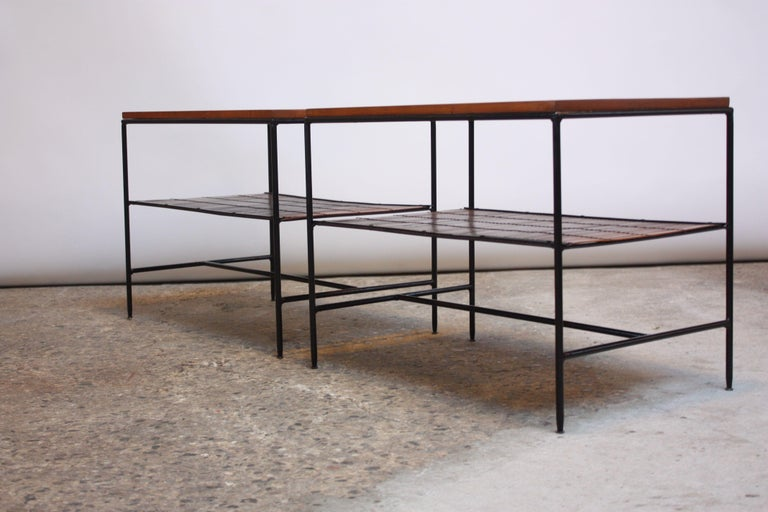 Mid-20th Century Pair of Paul McCobb 'Planner Group' Iron and Maple Occasional Tables For Sale
