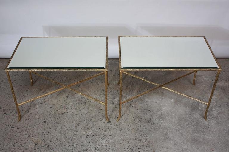 Pair of Italian Gilded X-Base Side Tables with Mirror Tops For Sale 3