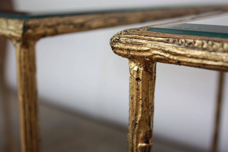 Beveled Pair of Italian Gilded X-Base Side Tables with Mirror Tops For Sale