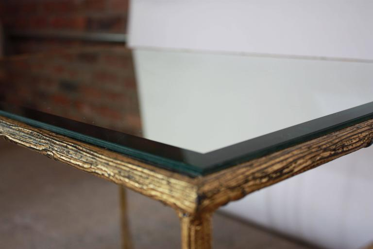 Mid-20th Century Pair of Italian Gilded X-Base Side Tables with Mirror Tops For Sale