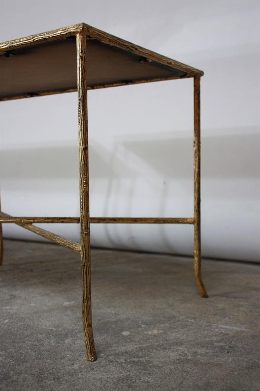 Pair of Italian Gilded X-Base Side Tables with Mirror Tops For Sale 1