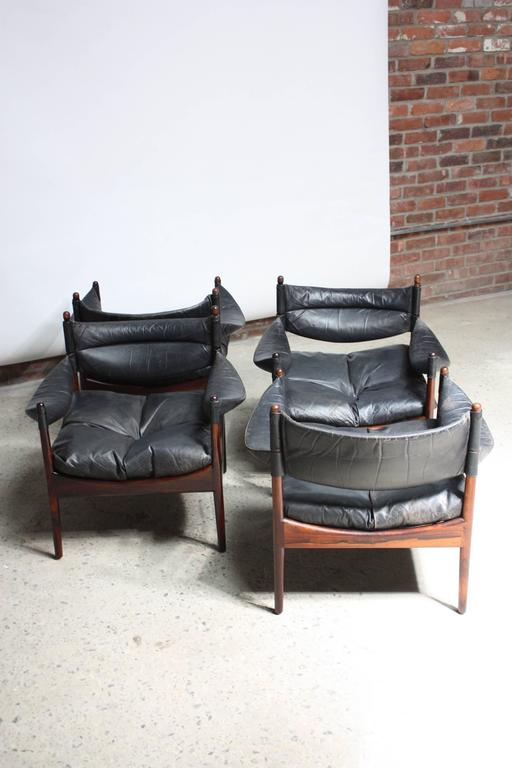 Set of Four Kristian Solmer Vedel 'Modus' Rosewood Lounge Chairs  2