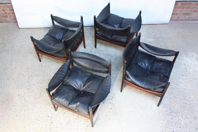 Set of Four Kristian Solmer Vedel 'Modus' Rosewood Lounge Chairs  6