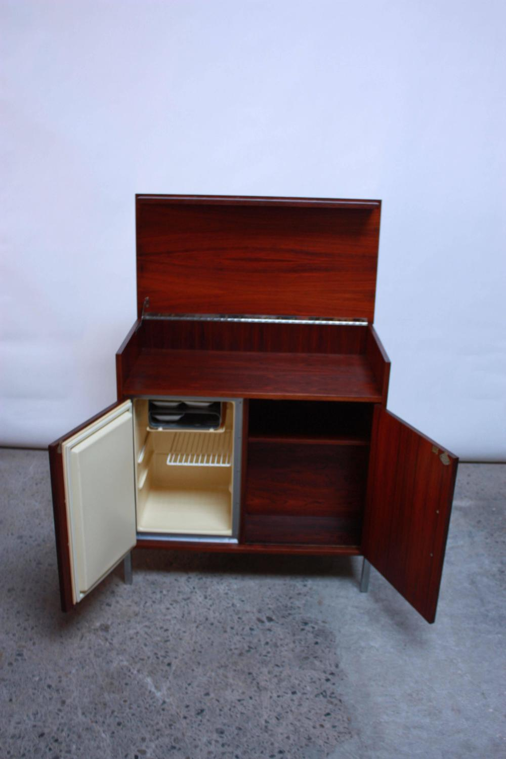 1950s Rosewood Bar And Mini Fridge For Sale At 1stdibs