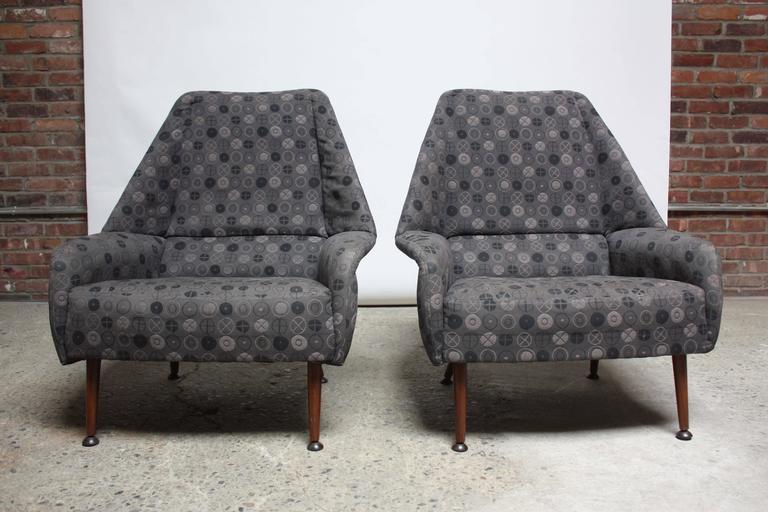 Pair of Ernest Race Lounge Chairs and Ottoman in Eames Upholstery 10