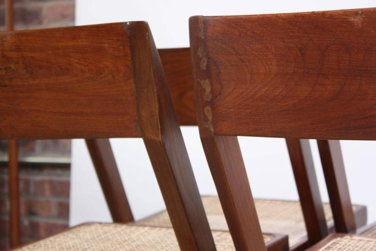 Set of Six Pierre Jeanneret Library Chairs in Teak and Cane 10