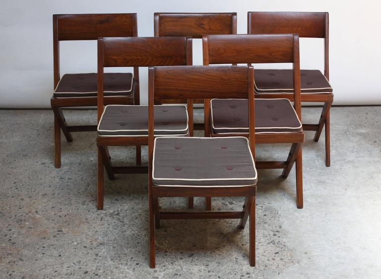 Set of Six Pierre Jeanneret Library Chairs in Teak and Cane 2