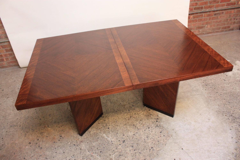 Brutalist Pedestal Parquet Walnut Dining Table By Lane At