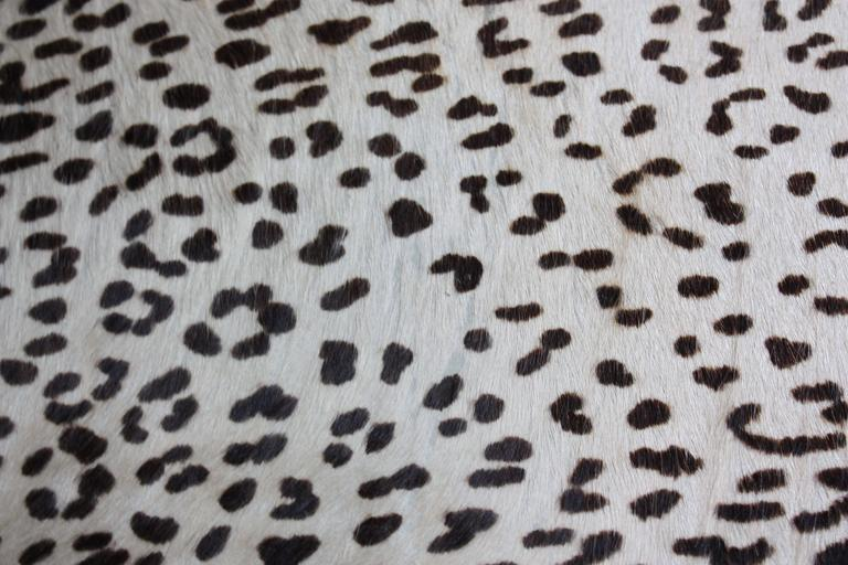 Rare IB Kofod Larsen Penguin Chairs and Ottoman in Leopard Print Appaloosa Hair In Good Condition For Sale In Brooklyn, NY