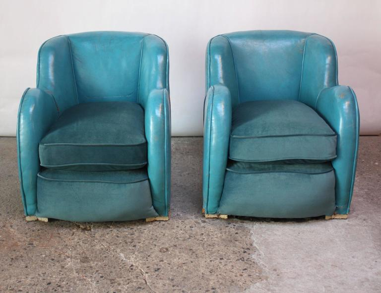 Scandinavian Deco Club Chairs in Blue Leather and Velvet 4