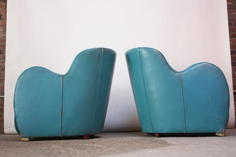 Scandinavian Deco Club Chairs in Blue Leather and Velvet 3
