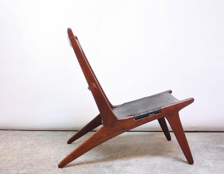 Swedish Teak and Leather Hunting Chair Model #204 by Uno and Östen Kristiansson 3