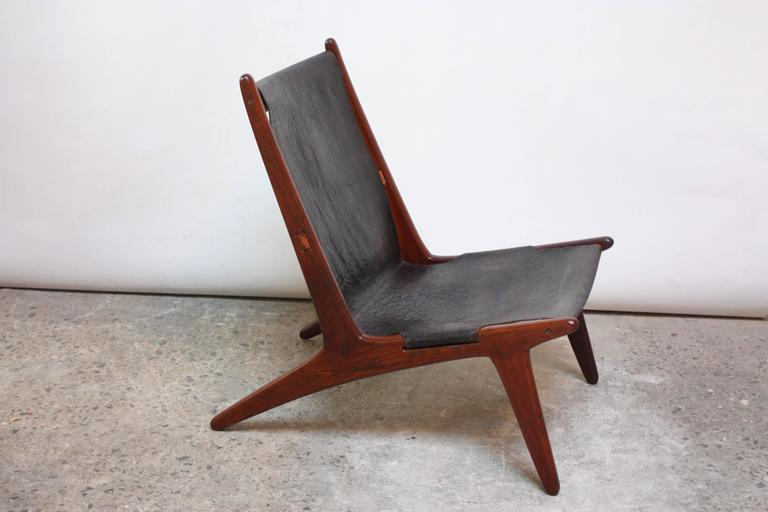 Swedish Teak and Leather Hunting Chair Model #204 by Uno and Östen Kristiansson 2