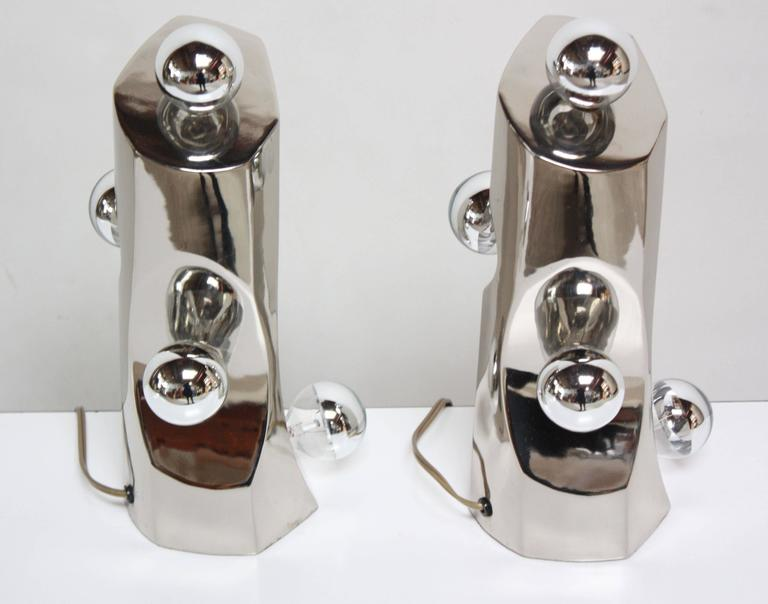 Mid-Century Modern Polished Chrome Free-Form Table Lamps 5