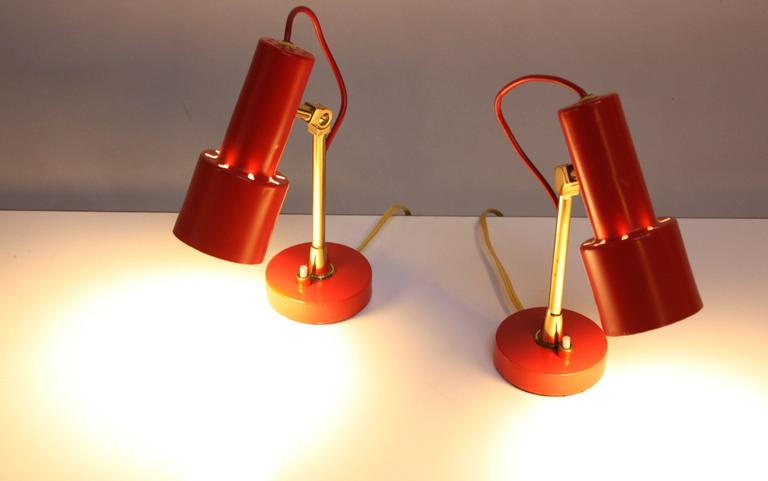 Pair of Mid-Century Italian Modern Petite Table Lamps / Sconces by Stilux In Excellent Condition For Sale In Brooklyn, NY