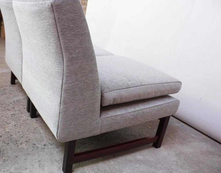 Pair of Danish Slipper Chairs in Chenille and Rosewood 7