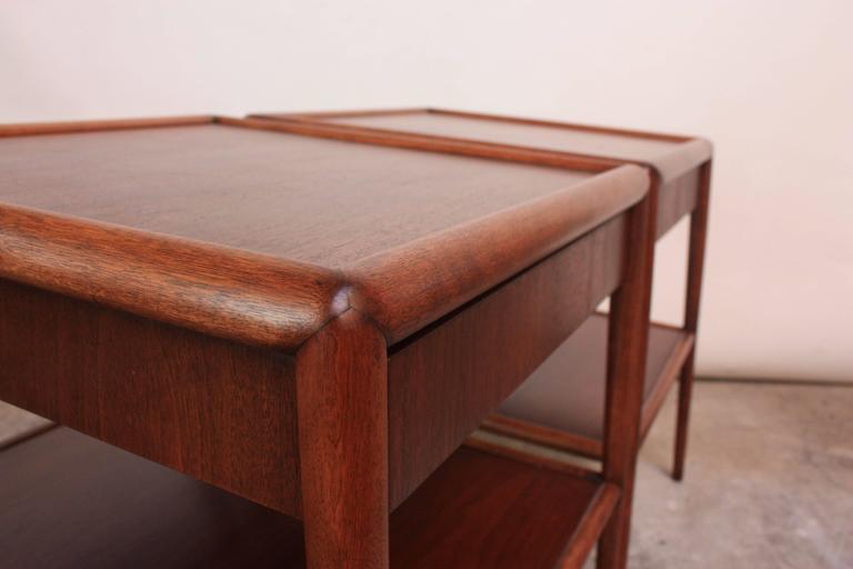 Pair of T. H. Robsjohn-Gibbings Single Drawer End Tables For Sale 1