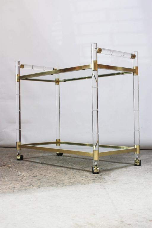 Polished Charles Hollis Jones Lucite Faux-Bamboo and Brass Serving Cart For Sale