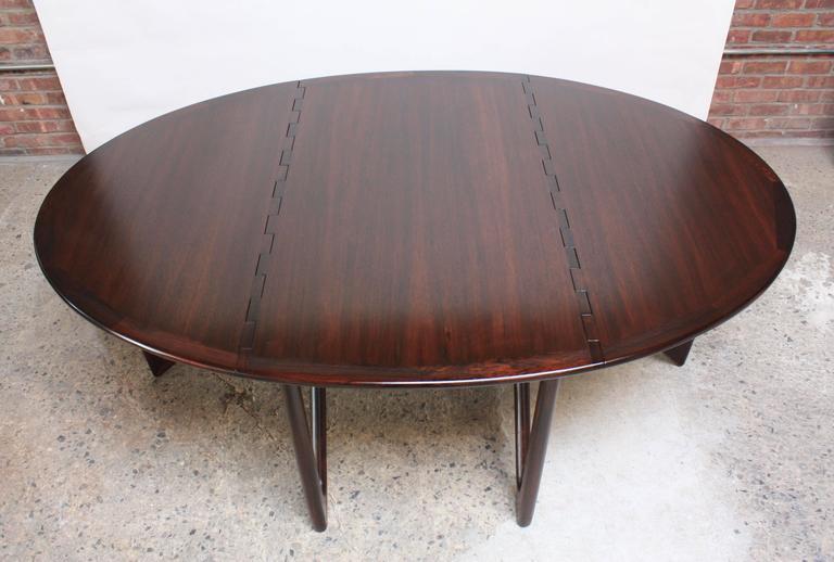 Niels Koefoed Elliptical Rosewood Gateleg 'Eva' Dining Table Model #304 4